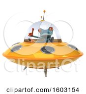 3d Blue Frog Flying A Ufo On A White Background