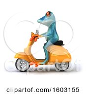3d Blue Frog Riding A Scooter On A White Background