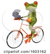 3d Green Frog Holding A Euro On A White Background