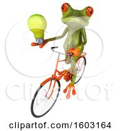 3d Green Frog Holding A Light Bulb On A White Background
