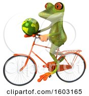 3d Green Frog Holding A Globe On A White Background
