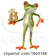 3d Green Frog Holding A Bitcoin Symbol On A White Background