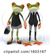 3d Green Frog Couple On A White Background