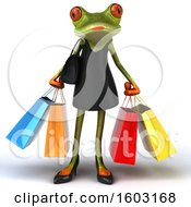 3d Female Green Frog Holding Shopping Bags On A White Background