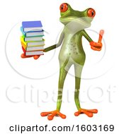 3d Green Frog Holding Books On A White Background