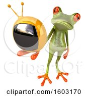 3d Green Frog Holding A Tv On A White Background