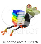 3d Green Business Frog Holding Books On A White Background