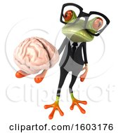 3d Green Business Frog Holding A Brain On A White Background