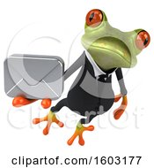 3d Green Business Frog Holding An Envelope On A White Background