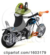 3d Green Business Frog Biker Riding A Chopper Motorcycle On A White Background