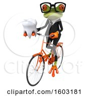 3d Green Business Frog Holding A Tooth On A White Background