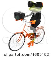 3d Green Business Frog Holding A Camera On A White Background