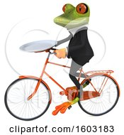 3d Green Business Frog Holding A Plate On A White Background