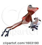 Poster, Art Print Of 3d Yellow Frog Holding A Dollar Sign On A White Background