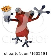 3d Red Frog Holding Fries On A White Background