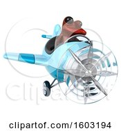 3d Yellow Frog Flying A Plane On A White Background