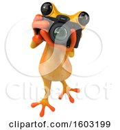 3d Yellow Frog Holding A Camera On A White Background