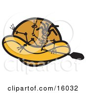 Skeleton Holding A Paddle While Rafting Clipart Illustration