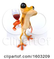 3d Yellow Frog Holding A Glass Of Red Wine On A White Background