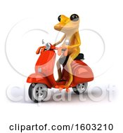 3d Yellow Frog Riding A Scooter On A White Background