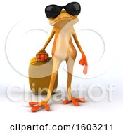 Poster, Art Print Of 3d Yellow Frog Traveling On A White Background