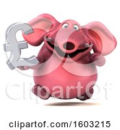 Poster, Art Print Of 3d Pink Elephant Holding A Lira On A White Background