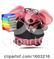3d Pink Business Elephant Holding Books On A White Background