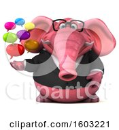 Clipart Of A 3d Pink Business Elephant Holding Messages On A White Background Royalty Free Illustration
