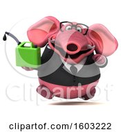 3d Pink Business Elephant Holding A Gas Can On A White Background