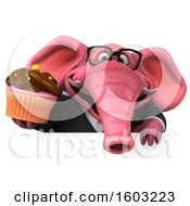 3d Pink Business Elephant Holding A Cupcake On A White Background