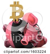 Poster, Art Print Of 3d Pink Business Elephant Holding A Bitcoin Symbol On A White Background