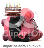 Poster, Art Print Of 3d Pink Business Elephant Holding A Birthday Cake On A White Background