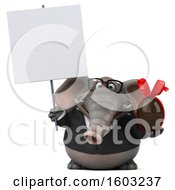 Poster, Art Print Of 3d Business Elephant Holding A Chocolate Egg On A White Background