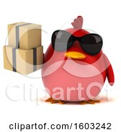 Clipart Of A 3d Red Bird Holding Boxes On A White Background Royalty Free Illustration