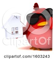 Clipart Of A 3d Red Bird Holding A House On A White Background Royalty Free Illustration
