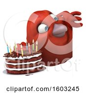 Poster, Art Print Of 3d Red Bird Holding A Birthday Cake On A White Background