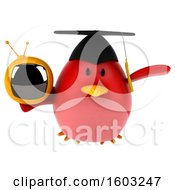 Clipart Of A 3d Red Bird Graduate Holding A Tv On A White Background Royalty Free Illustration