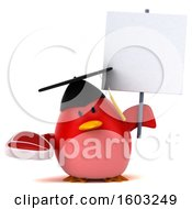 Clipart Of A 3d Red Bird Graduate Holding A Steak On A White Background Royalty Free Illustration