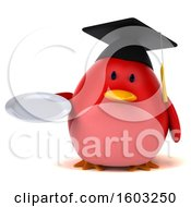 Clipart Of A 3d Red Bird Graduate Holding A Plate On A White Background Royalty Free Illustration