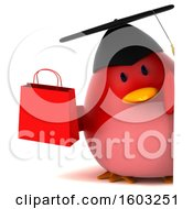 Clipart Of A 3d Red Bird Graduate Holding A Shopping Bag On A White Background Royalty Free Illustration