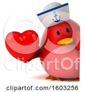 Clipart Of A 3d Chubby Red Bird Sailor Holding A Heart On A White Background Royalty Free Illustration
