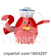 Clipart Of A 3d Chubby Red Bird Sailor Holding A Question Mark On A White Background Royalty Free Illustration
