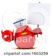 3d Chubby Red Bird Sailor Holding A Devil On A White Background