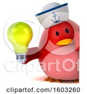 3d Chubby Red Bird Sailor Holding A Light Bulb On A White Background