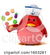3d Chubby Red Bird Sailor Holding Produce On A White Background