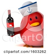 Clipart Of A 3d Chubby Red Bird Sailor Holding Wine On A White Background Royalty Free Illustration