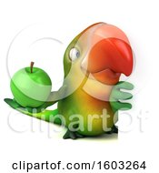 Clipart Of A 3d Green Macaw Parrot Holding An Apple On A White Background Royalty Free Illustration