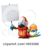Clipart Of A 3d Scarlet Macaw Parrot Holding An Orange On A White Background Royalty Free Illustration