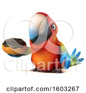 Clipart Of A 3d Scarlet Macaw Parrot Holding A Donut On A White Background Royalty Free Illustration