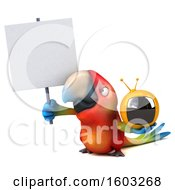 Poster, Art Print Of 3d Scarlet Macaw Parrot Holding A Tv On A White Background